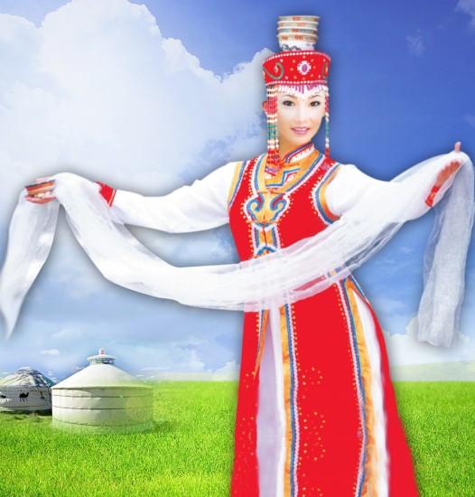 蒙古族人和藏族人表示敬意和祝贺用的长条丝巾或纱巾,多为白色,蓝色